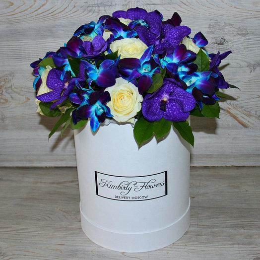 Коробочка орхидей и роз: букеты цветов на заказ Flowwow