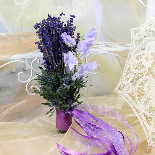Букет невесты из лаванды и эрингиума: букеты цветов на заказ Flowwow