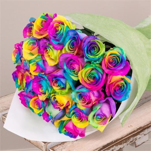 Букет из 25 эквадорских радужных роз 70 см: букеты цветов на заказ Flowwow