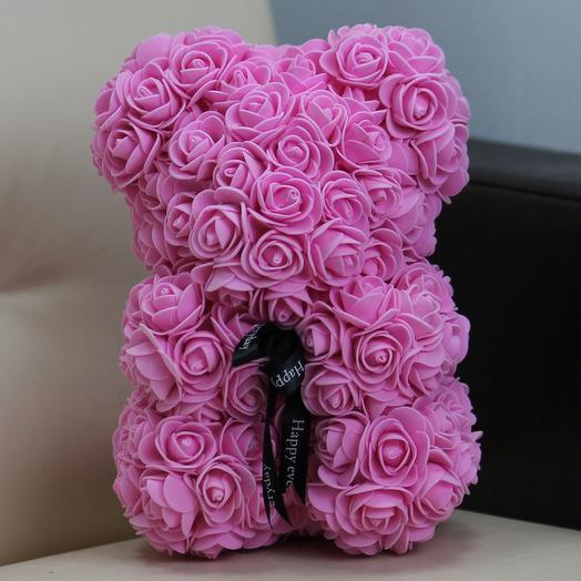 Мишка из роз «Нежно -розовый»: букеты цветов на заказ Flowwow