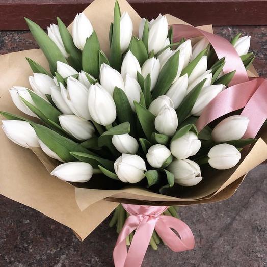 51 белый тюльпан: букеты цветов на заказ Flowwow