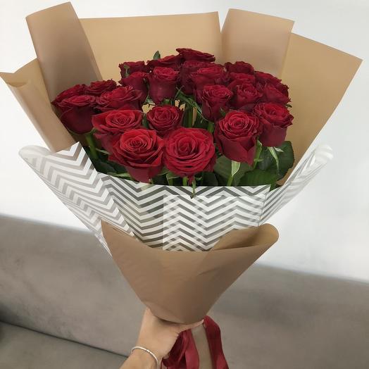 """Букет из 25 красных роз """"Only you"""": букеты цветов на заказ Flowwow"""