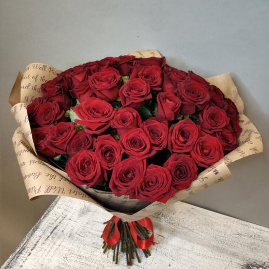 51 красная роза в расписном крафте: букеты цветов на заказ Flowwow