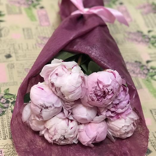 9 пионов В конверте: букеты цветов на заказ Flowwow