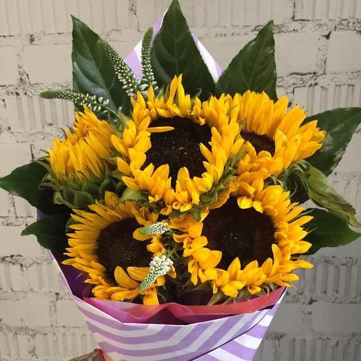 Подсолнухи с Вероникой: букеты цветов на заказ Flowwow