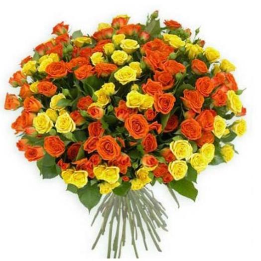 """Букет из кустовых роз """"Санрайз"""": букеты цветов на заказ Flowwow"""