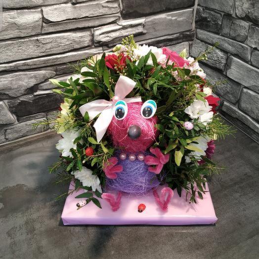 Забавный ёжик 🦔 из живых цветов: букеты цветов на заказ Flowwow