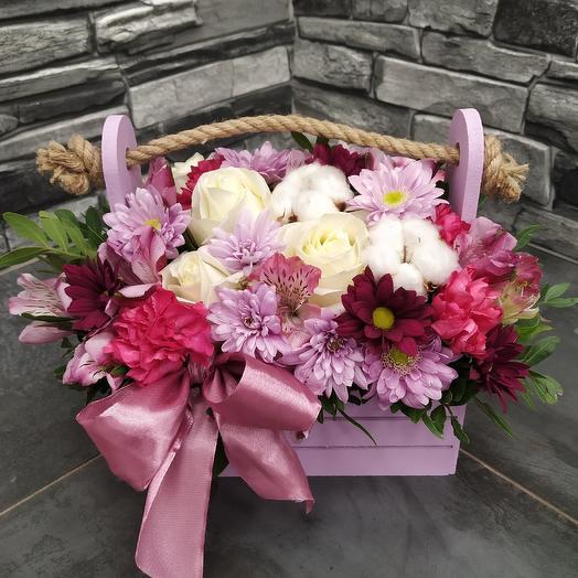 """Ящичек с розой,хризантемой и хлопком """"Нежность"""": букеты цветов на заказ Flowwow"""