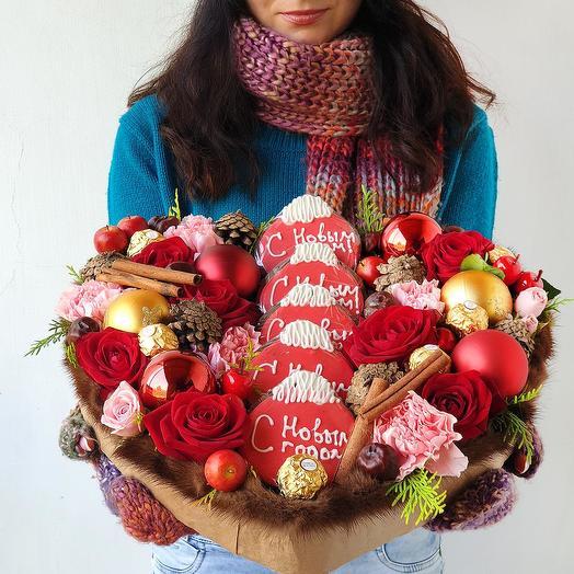 Зимний подарок С Новым годом: букеты цветов на заказ Flowwow