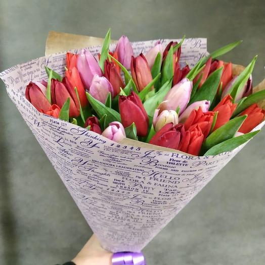 Тюльпаны микс 21 шт: букеты цветов на заказ Flowwow