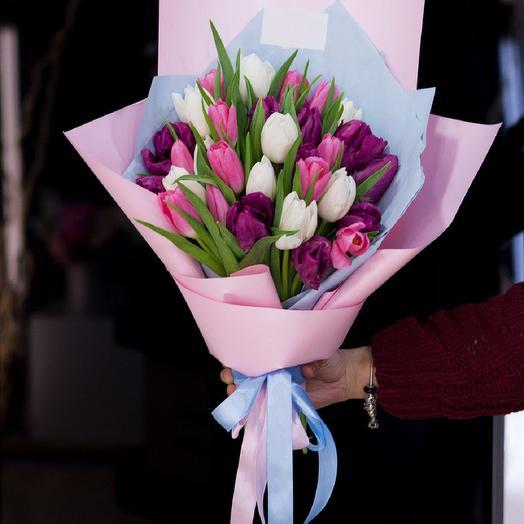 31 тюльпан микс: букеты цветов на заказ Flowwow