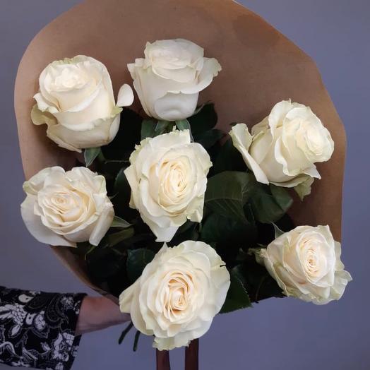 Букет из 7 белых роз: букеты цветов на заказ Flowwow