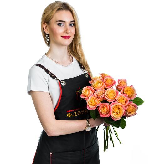 15 желтых с розовым роз: букеты цветов на заказ Flowwow