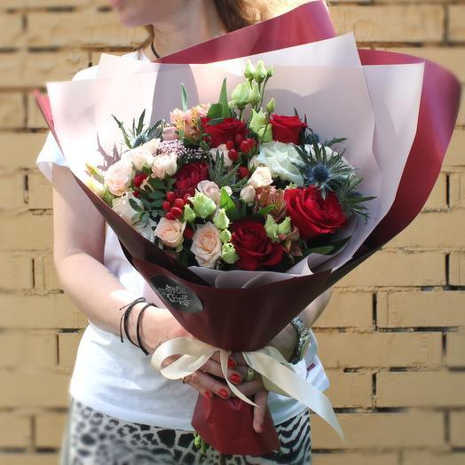 Бордовый дуэт: букеты цветов на заказ Flowwow