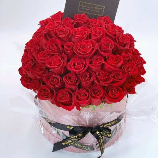 Люкс Вельвет розовый. 101 красная роза