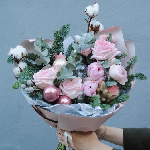 Зимний букет ,, Розовый иней