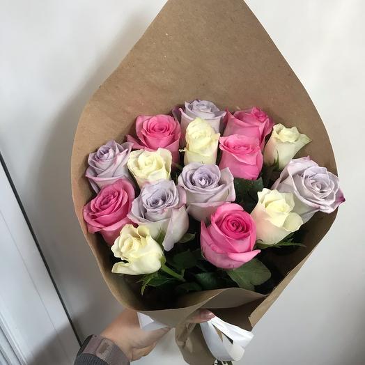 Букет из 15 роз Кения нежный микс