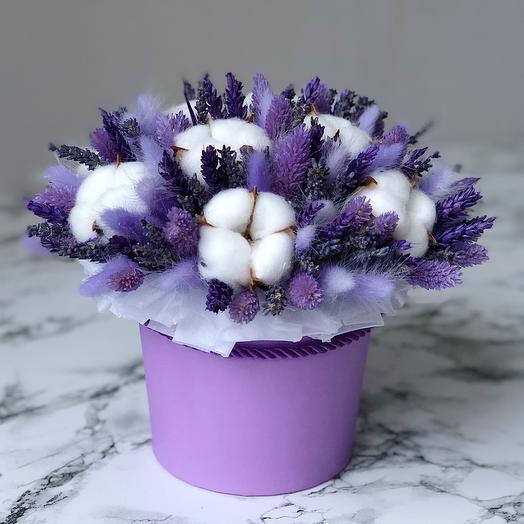 Сухоцветы в коробке Fiolet