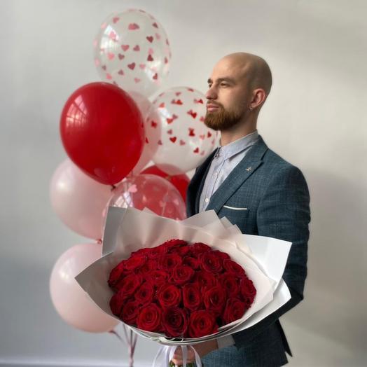 Сет красные Розы и шары