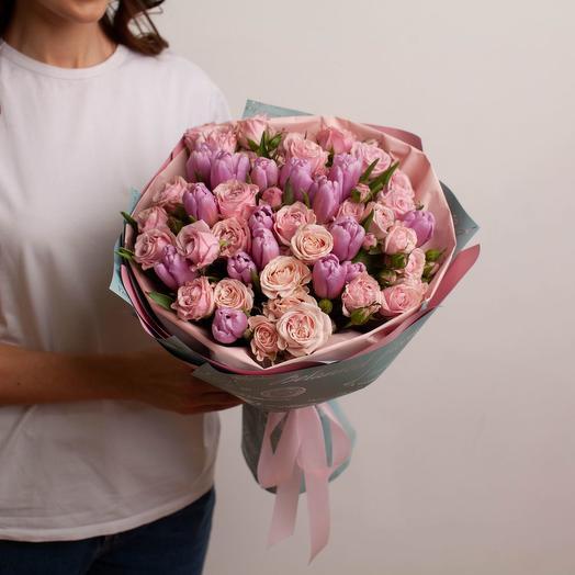 """Букет из роз и тюльпанов """"Весенний дуэт"""""""