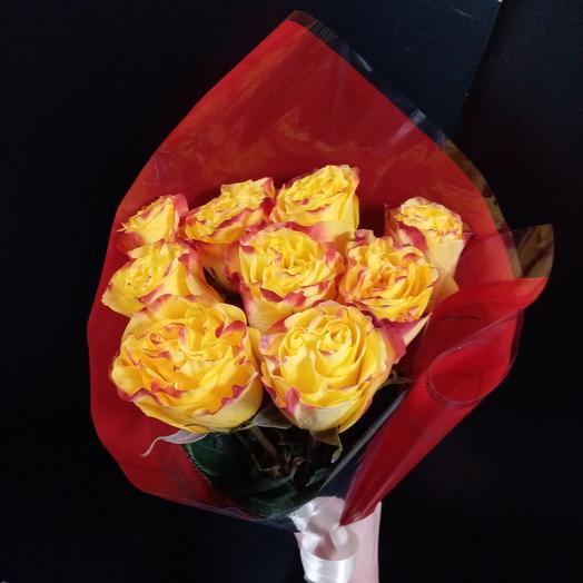 """Букет """"Огонь"""" 9 роз"""