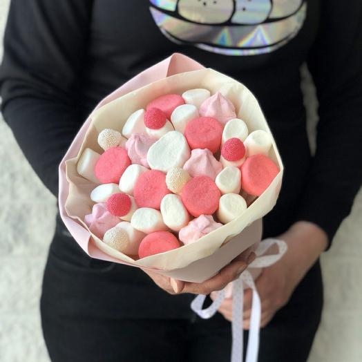 "Сладкий букет ""Фламинго"" из маршмэллоу и мармелада"