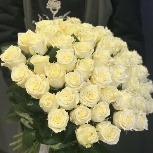 """51 роза """"Вайт найт"""""""