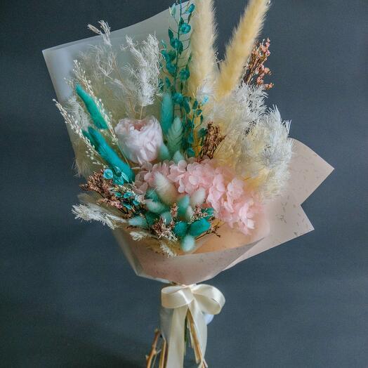 Розово-бирюзовый букет