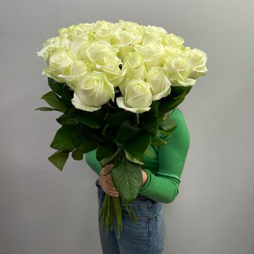 Букет белых роз 70 см