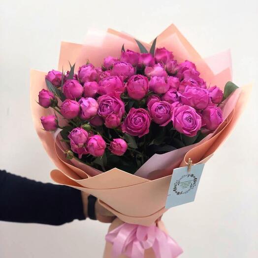 Букет 25 пионовидных мелкоцветных роз Баблгам