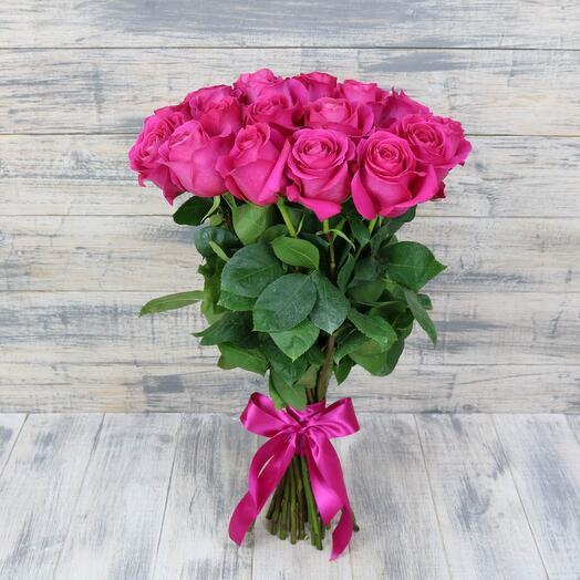 Монобукет 19 Розовых роз 60см