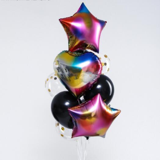 Набор шаров «Радужный», сердце, звезда, фольга, латекс, набор 10 шт