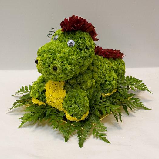 Фигура из цветов Динозаврик