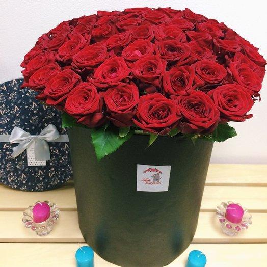 Коробочка из 57 Роз: букеты цветов на заказ Flowwow