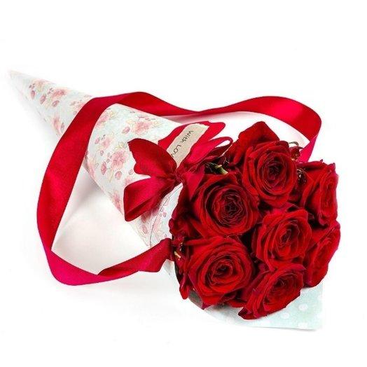 7 роз в крафт-конусе цвет роз на выбор: букеты цветов на заказ Flowwow