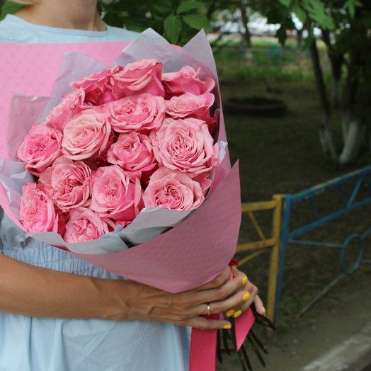 15 ароматных пионовидных розовых роз: букеты цветов на заказ Flowwow
