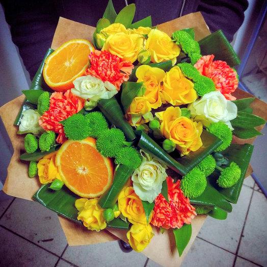 Бодрый цитрус (Букет 98): букеты цветов на заказ Flowwow