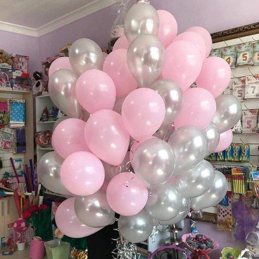 Микс воздушных шаров серебро и розовый - 77 штук: букеты цветов на заказ Flowwow