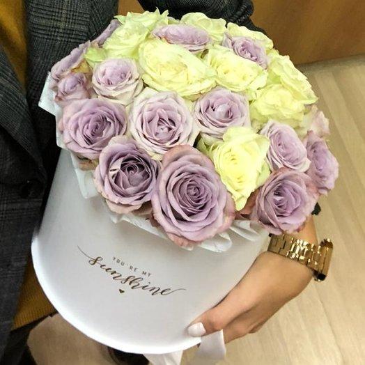 Бело-сиреневое омбре в белой коробке : букеты цветов на заказ Flowwow