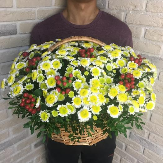 Сантинии в корзине: букеты цветов на заказ Flowwow