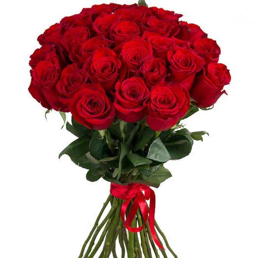 Букет из 25 красных роз с лентой: букеты цветов на заказ Flowwow