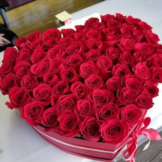 Прекрасное сердце из красных роз: букеты цветов на заказ Flowwow