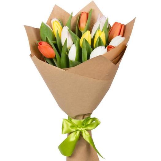 Букет из тюльпанов -15 шт: букеты цветов на заказ Flowwow