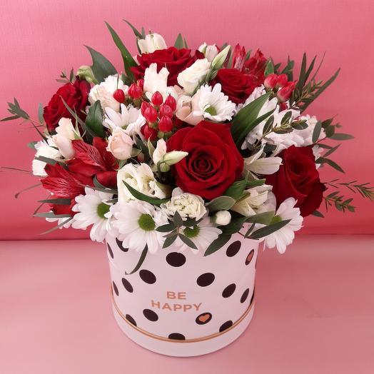 Коробка шляпная с цветами: букеты цветов на заказ Flowwow