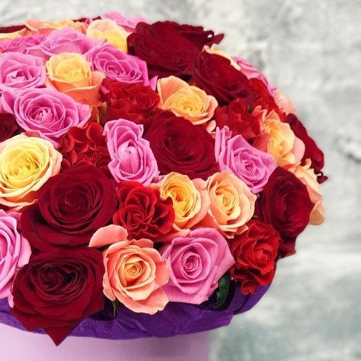 """Шикарный букет в шляпной коробке """"Для нее"""": букеты цветов на заказ Flowwow"""