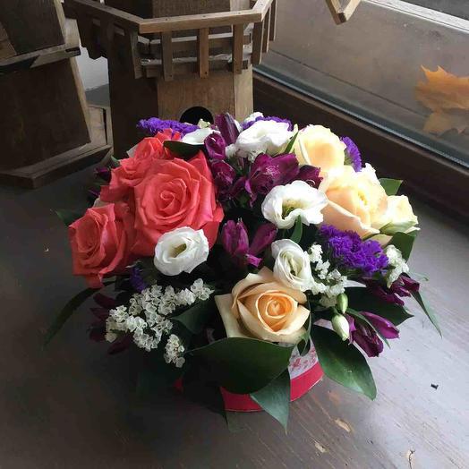 """Цветы для мамы """"Коробочка радости"""""""