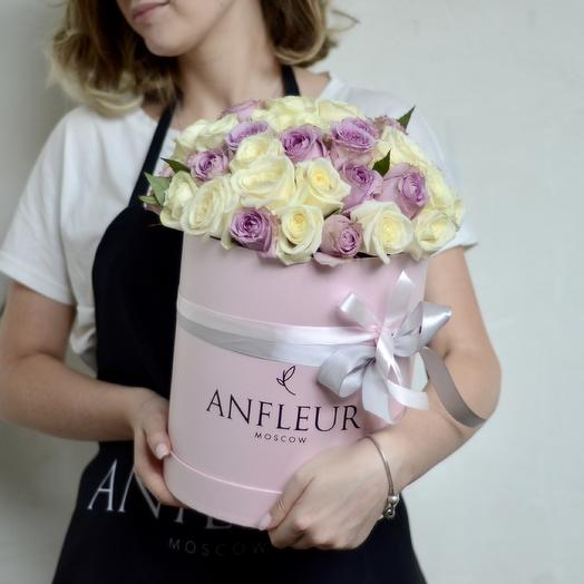 Шляпная коробка L в лавандовой гамме: букеты цветов на заказ Flowwow