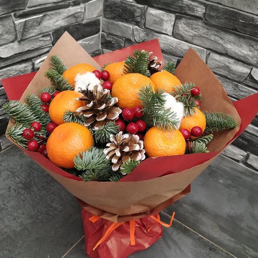 """Букет из мандарин и нобилиса """"Новогоднее настроение"""": букеты цветов на заказ Flowwow"""