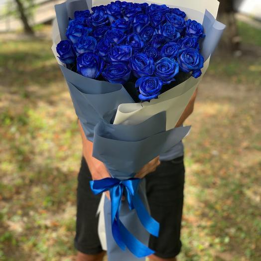 35 синих роз 70 см (Голландия)