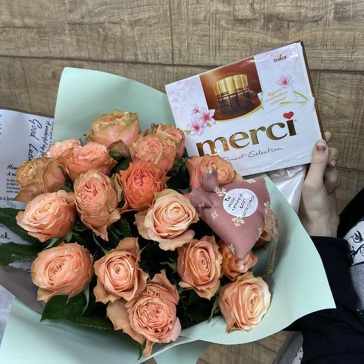 Букет из пионовидная роз для любимой: букеты цветов на заказ Flowwow